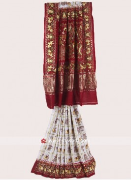 Maroon and Off White Panetar Saree