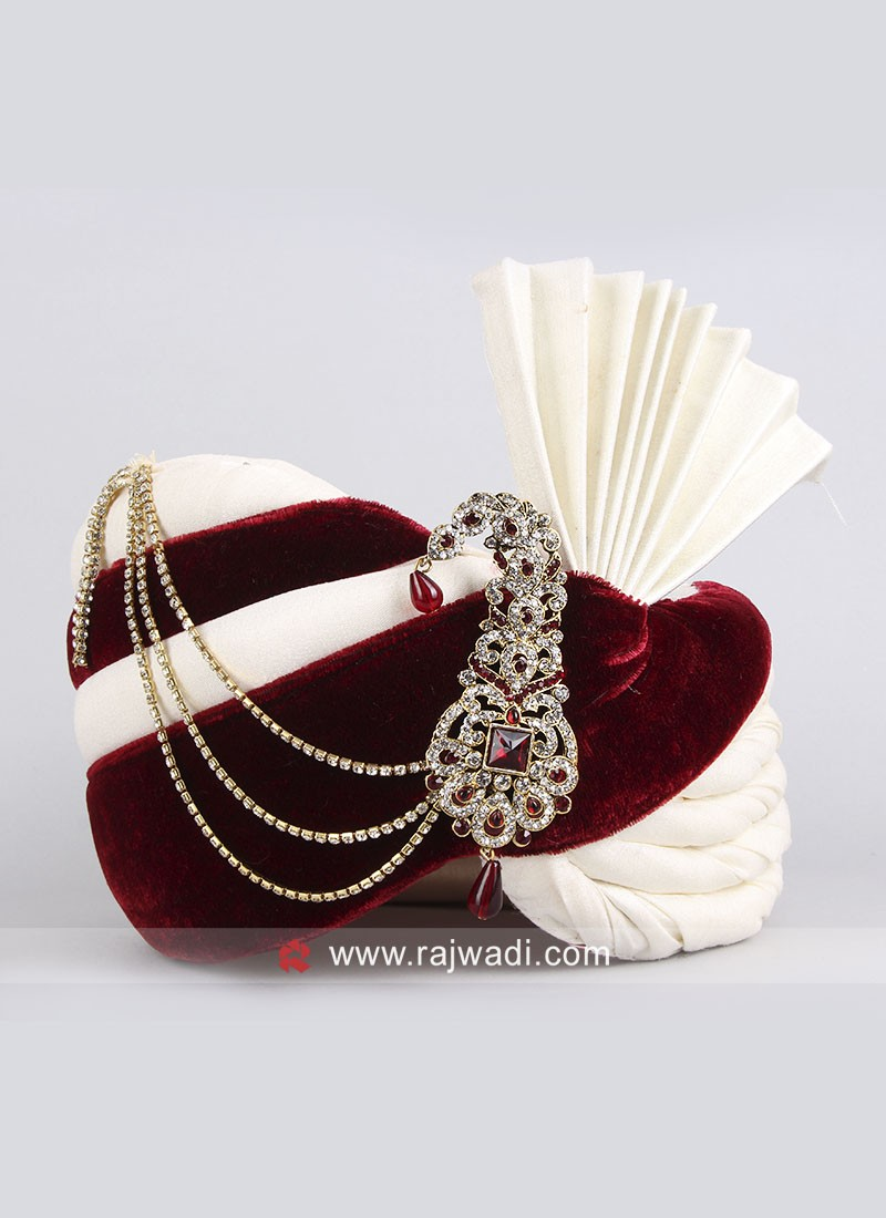 Maroon and Off White Safa for Groom