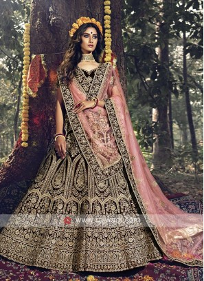 Maroon And Pink Bridal Wear Lehenga Choli