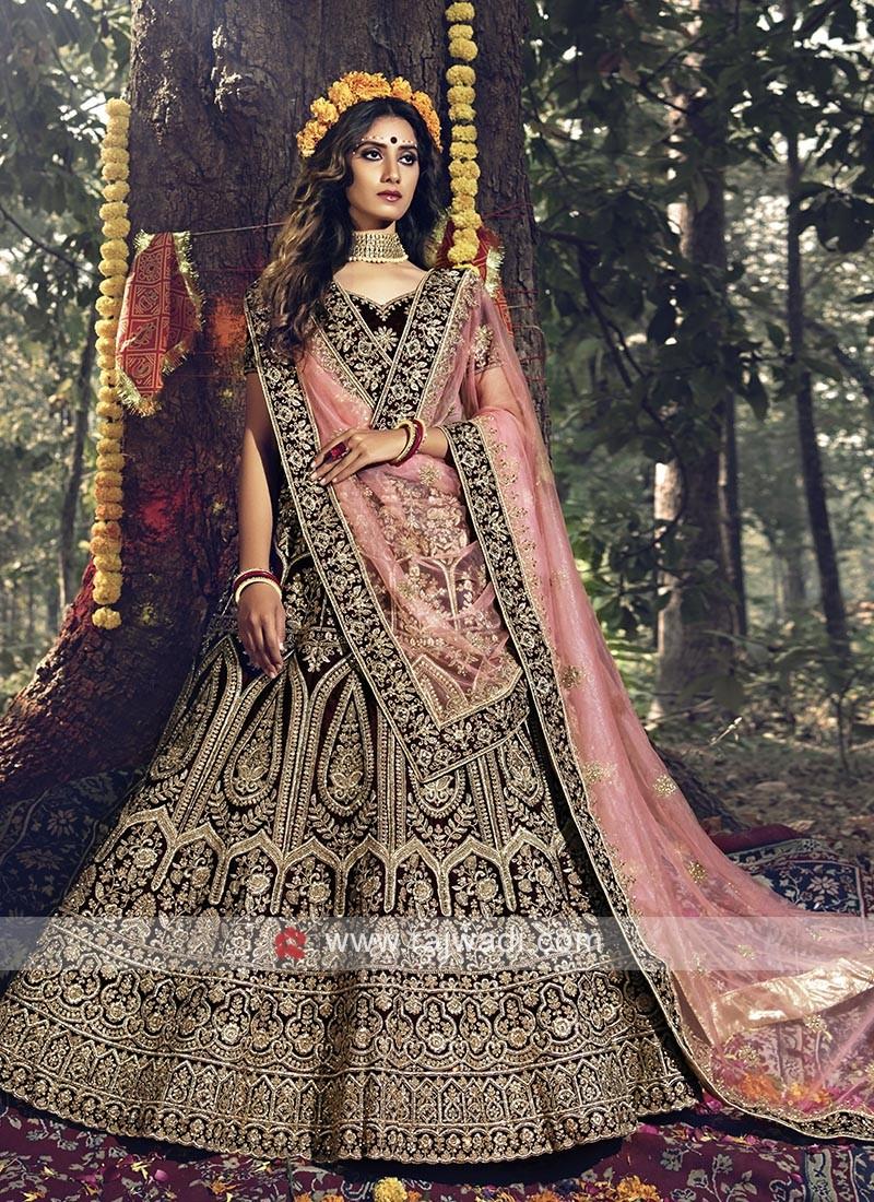 Maroon And Pink Bridal Wear Lehenga Choli