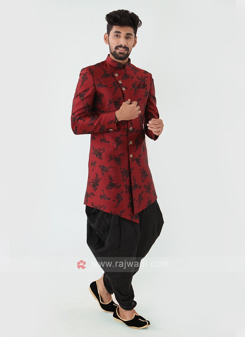 Maroon And Black Mens Indo-Western