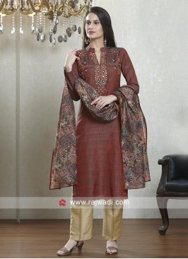 Maroon and skin color salwar suit