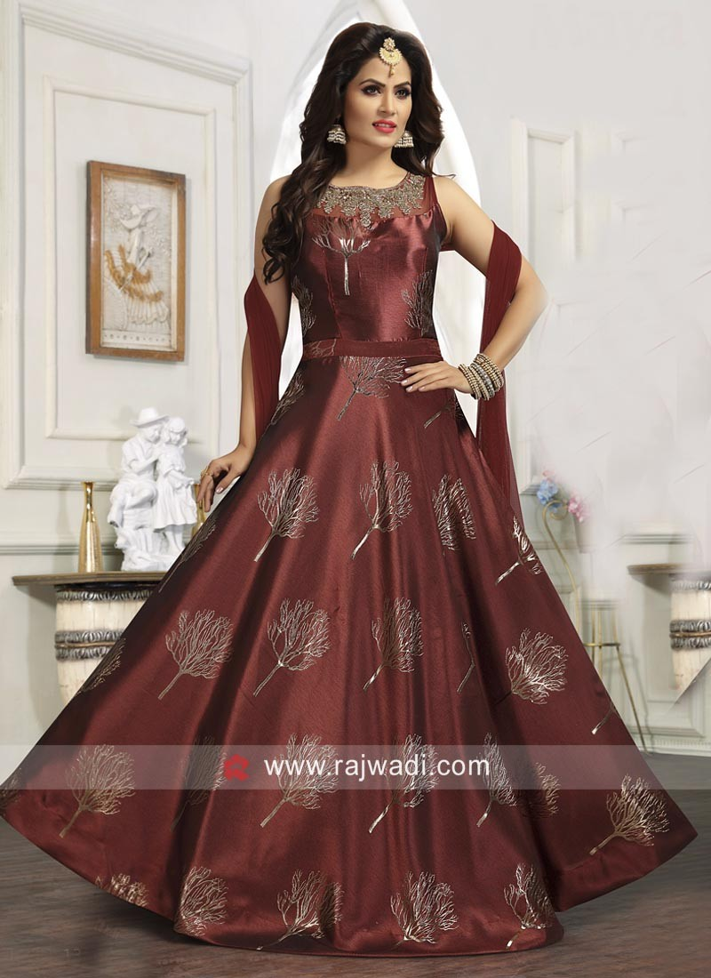 Maroon Art Silk Floor Length Anarkali Dress