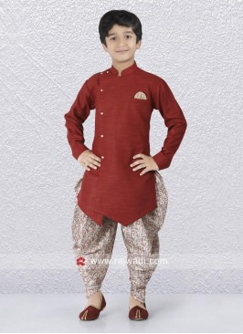 Maroon Art Silk Indo Western For Boys