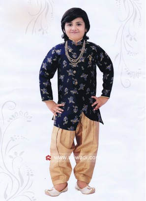 Blue Cotton Silk Indo Western For Boys