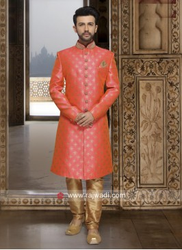 Dark Peach Brocade Silk Indo Western