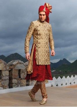 Golden and Maroon Art Silk Indo Western Sherwani