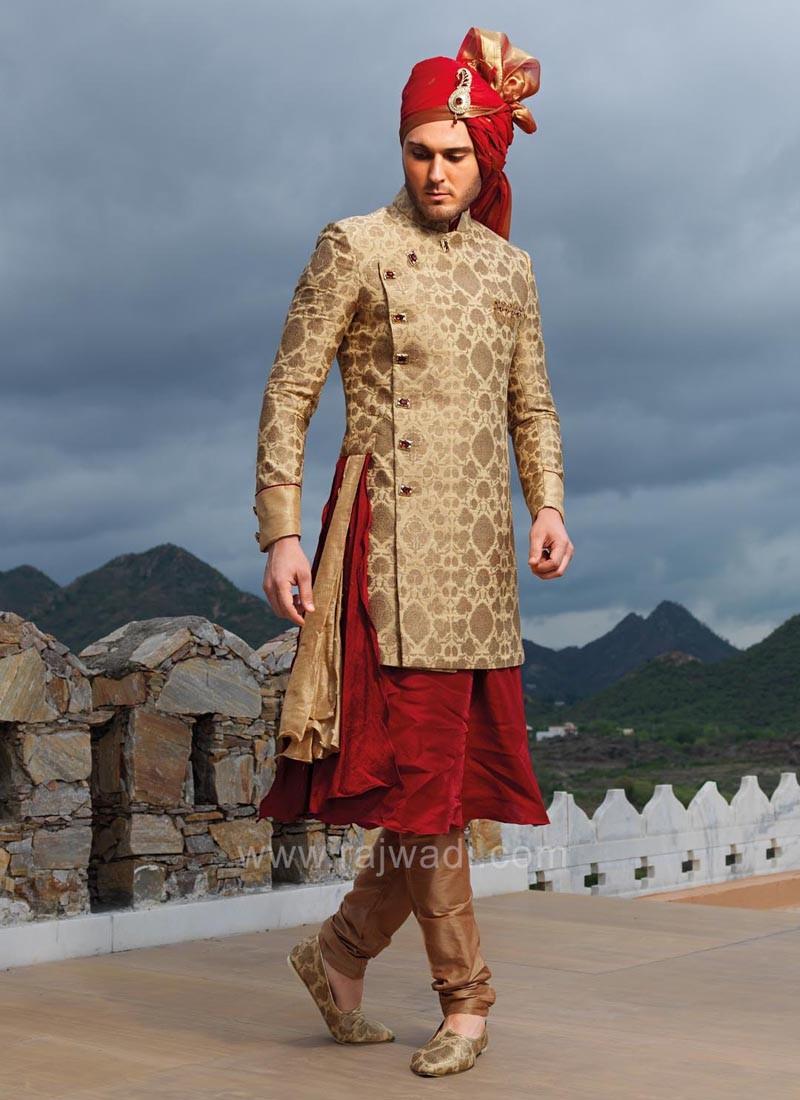Golden and Maroon Art Silk Indo Western Sherwani