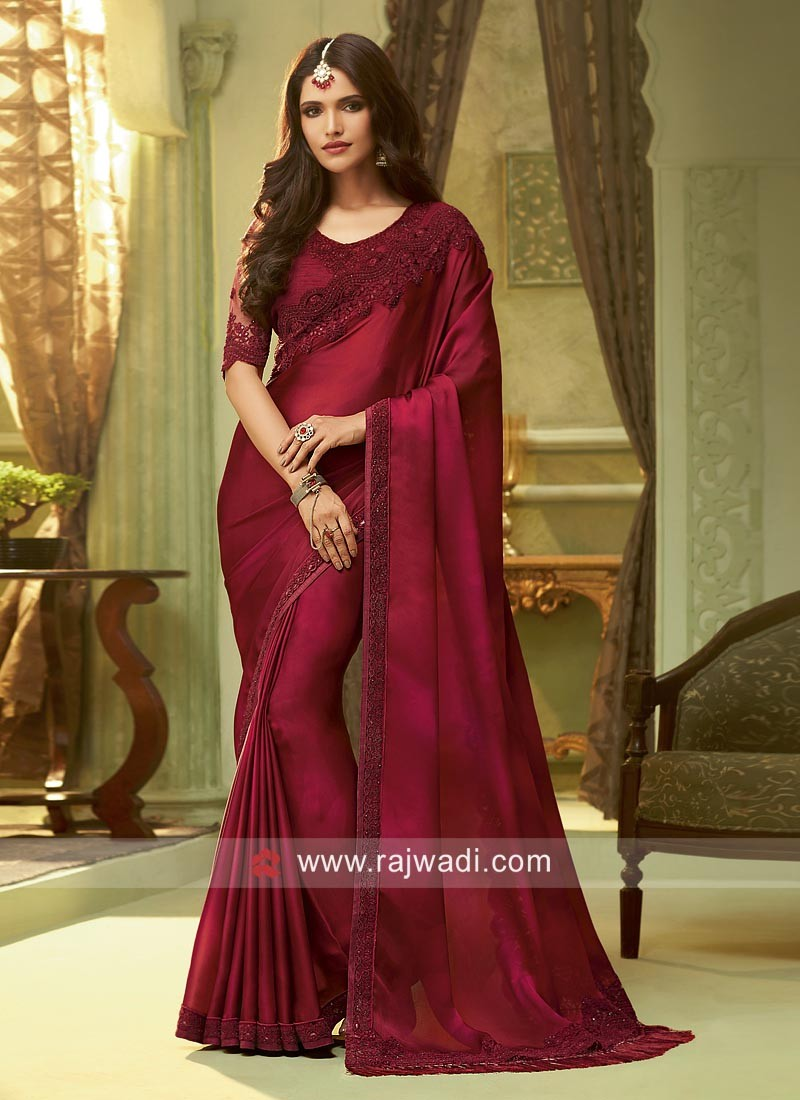 Maroon Border Work Saree