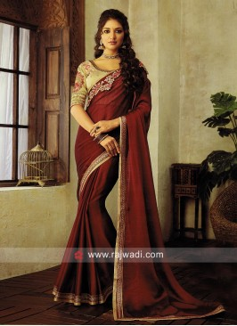 Maroon Border Work Saree with Blouse