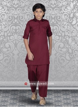 Maroon Boys Pathani Suit