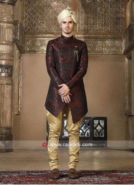 Maroon Brocade Silk Indo Western