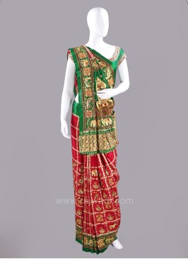 Maroon Checks Patola Sari with Blouse