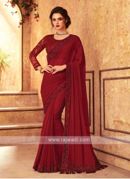 Maroon Chiffion Saree With Matching Blouse