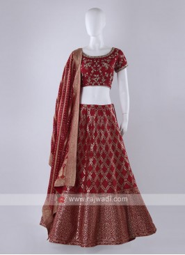 Maroon color banarasi silk lehenga choli