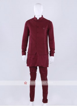 Maroon color blue color nehru jacket with kurti set