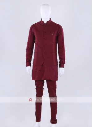 Maroon color blue color nehru jacket with kurti set