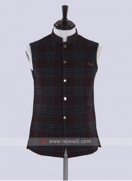 maroon color checks nehru jacket