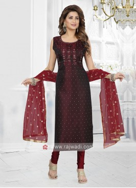 maroon color churidar suit