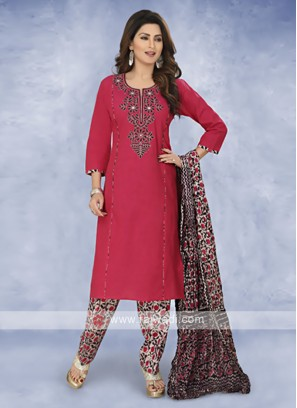 Maroon color cotton Salwar Kameez