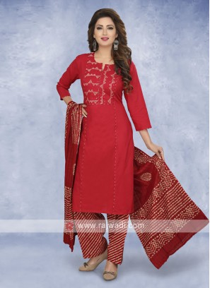 Maroon color cotton salwar suit