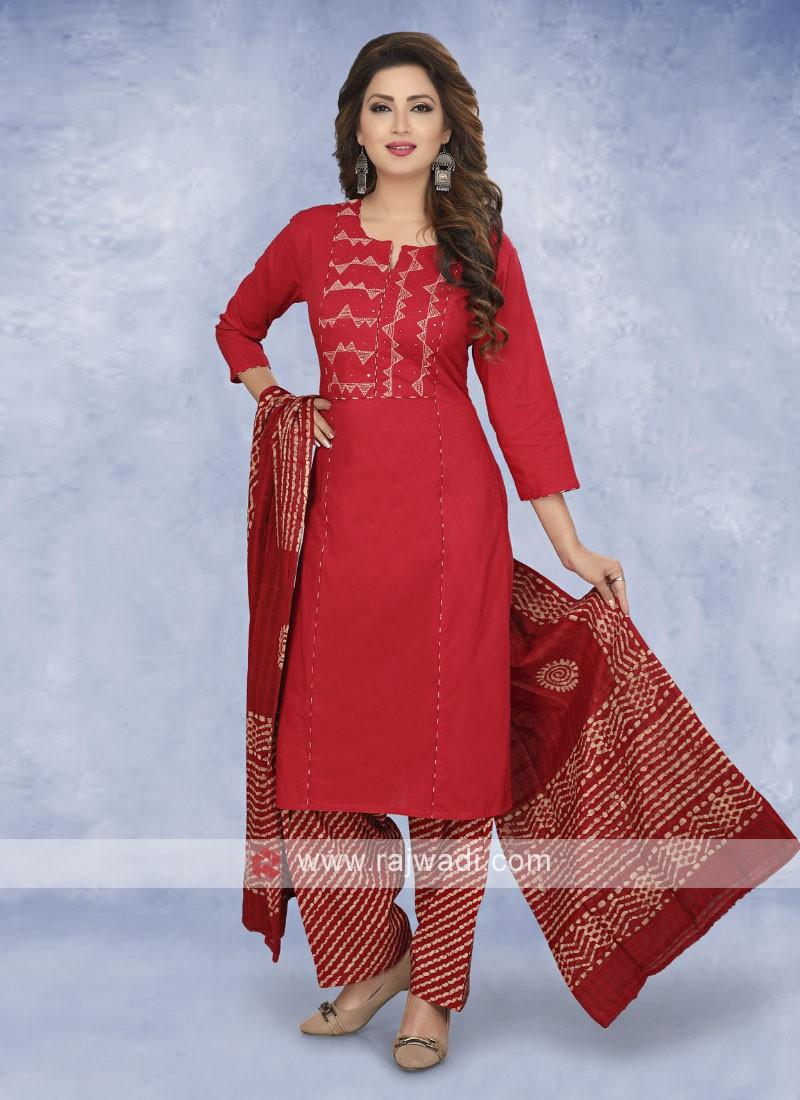Maroon color cotton salwar suit