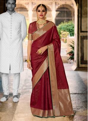 Maroon Color Designer Saree