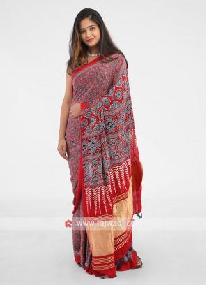 Maroon Color Digital floral print sarees