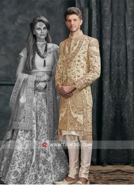 Cream Color Silk Fabric Sherwani