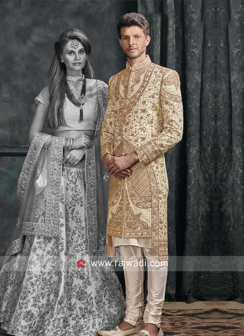 Cream Color Silk Fabric Sherwani