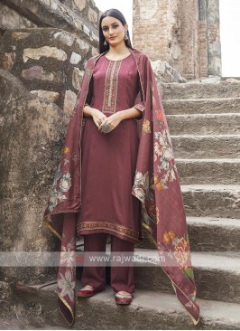 Maroon Color Embroidery Suit