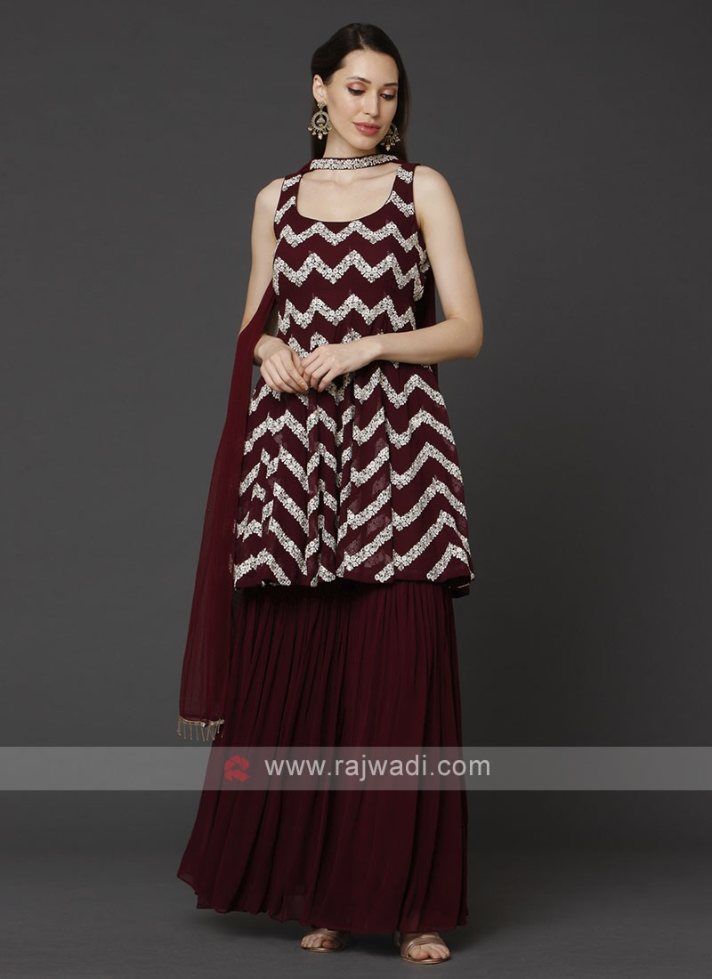 Maroon Color Gharara Suit