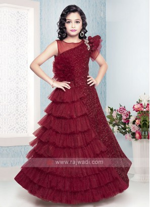 Maroon Color Gown For Girls