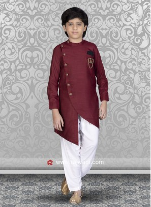 Maroon Color Kids Pathani Set