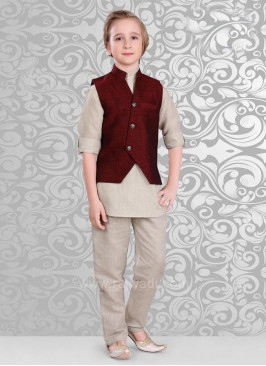 Maroon Color Koti With Beige Color Kurta Set