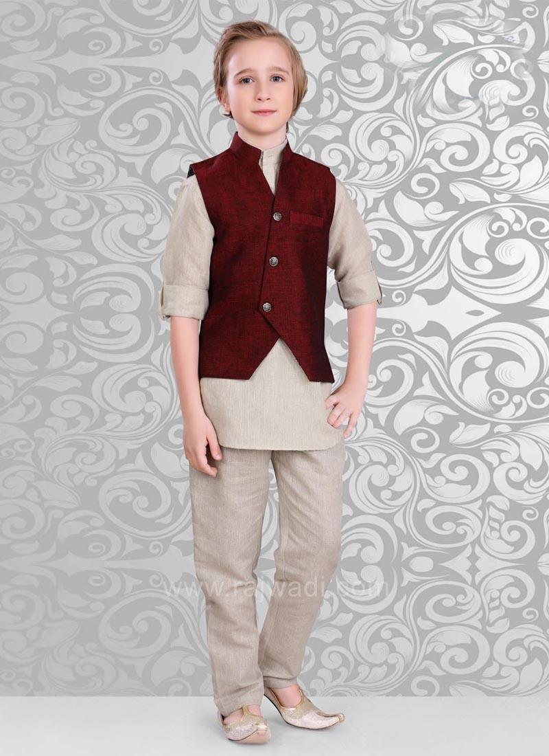 Maroon Color Koti With Beige Color Kurta Set