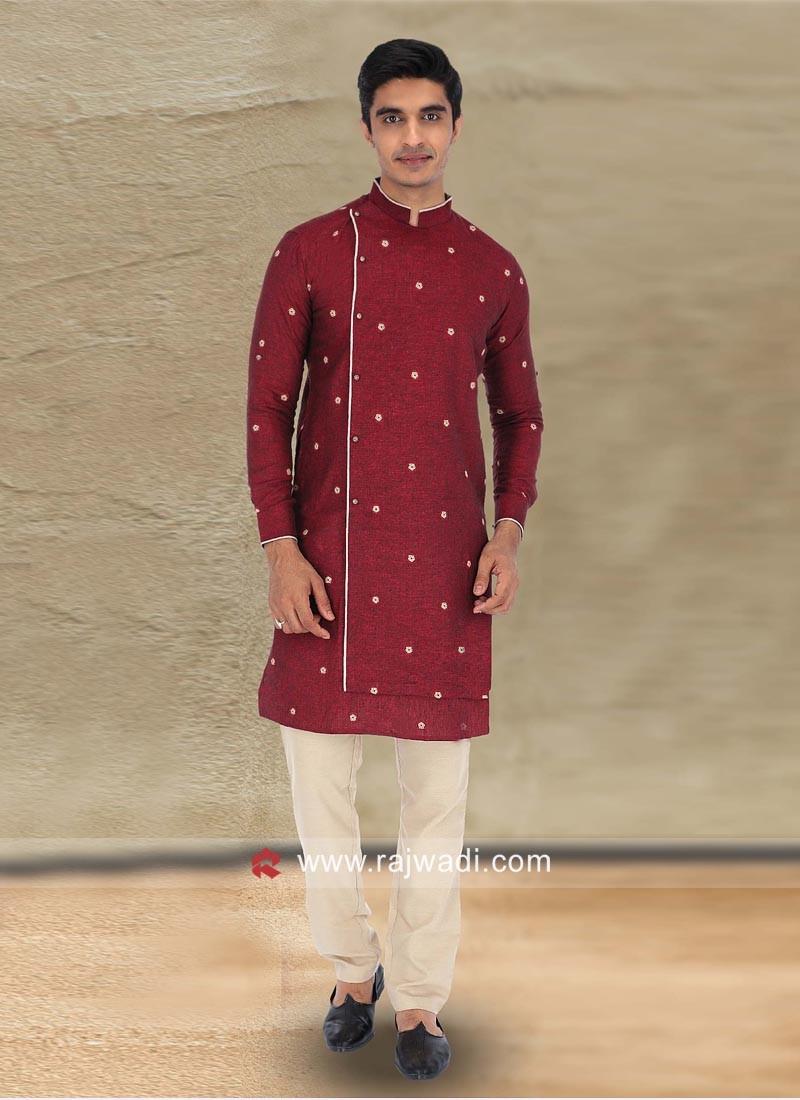 Maroon Color Kurta Pajama For Wedding