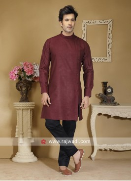 Maroon Color Kurta Set For Wedding
