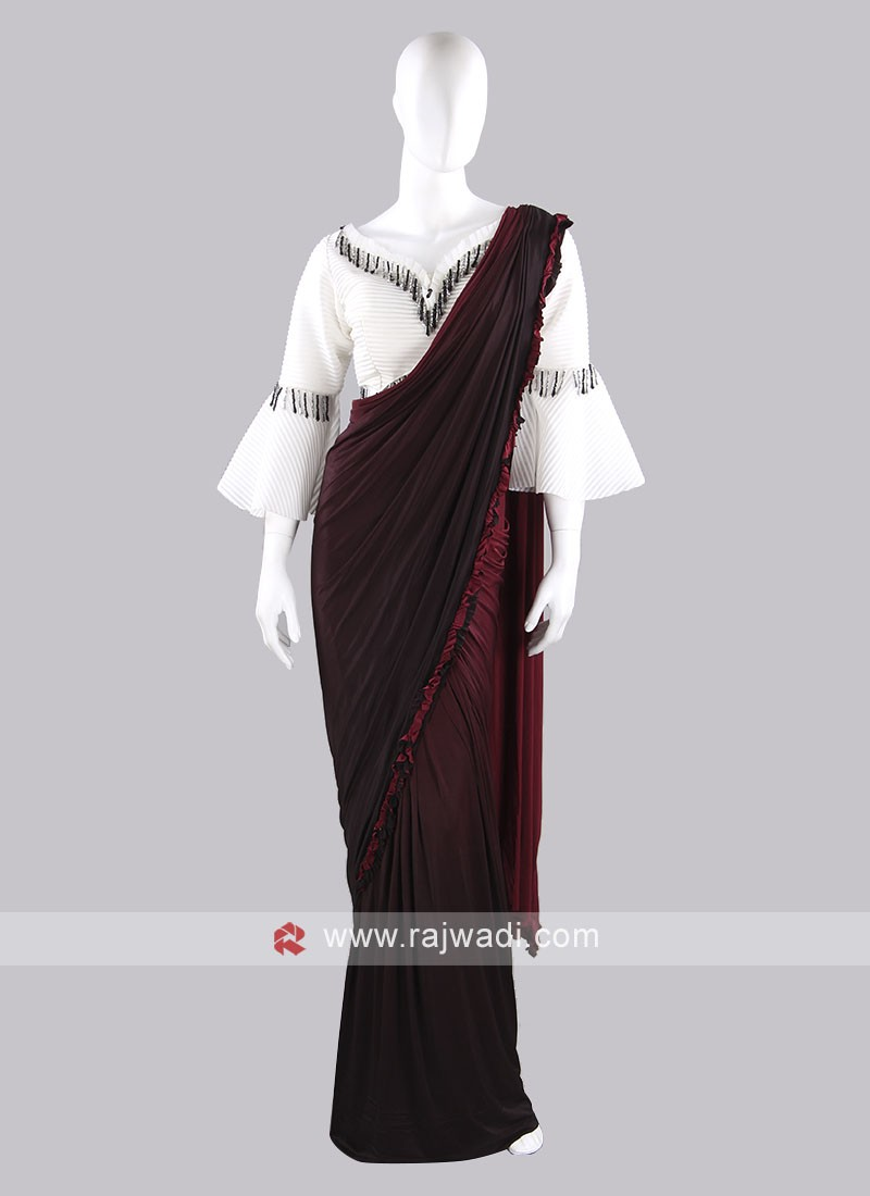 Maroon color lycra saree