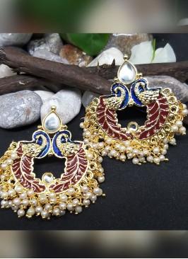 Maroon Color Meenakari Chandbali Earring Set