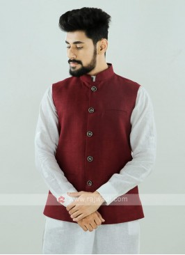 Maroon Color Nehru Jacket For Men