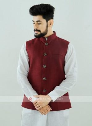 Maroon Color Nehru Jacket For Men