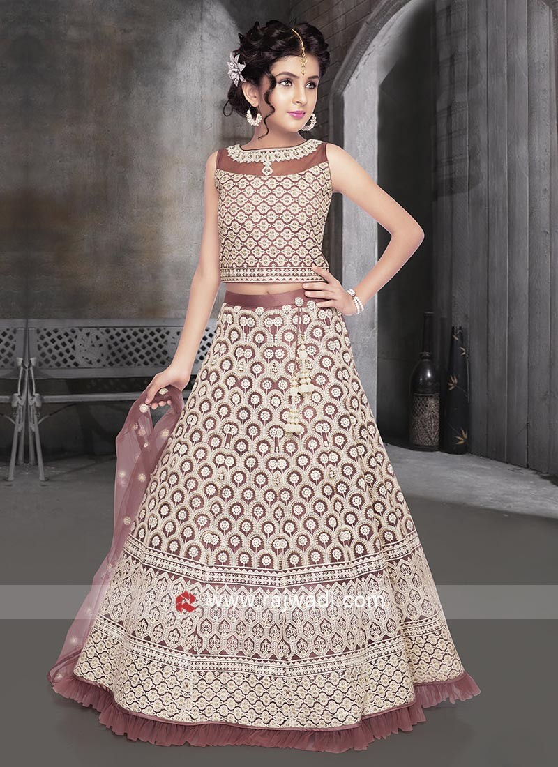 Maroon color net fabric choli suit