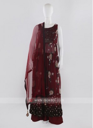 Maroon color Palazzo Suit with dupatta