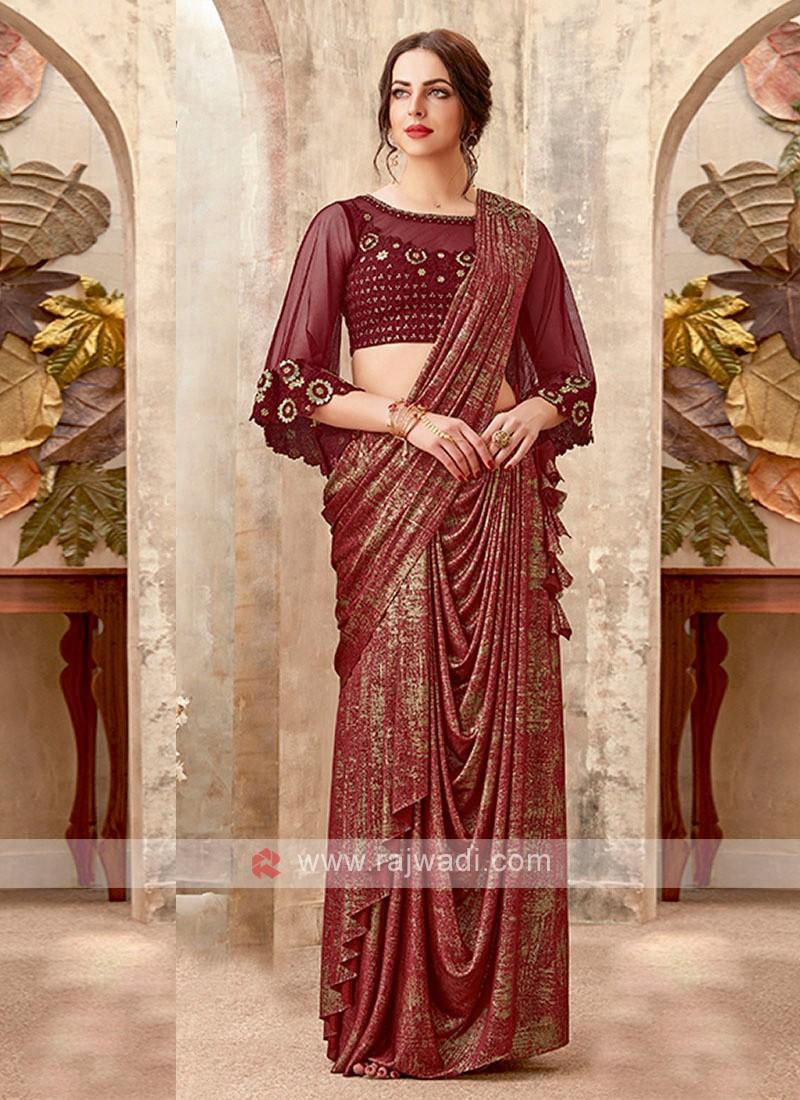 maroon color  party wear saree