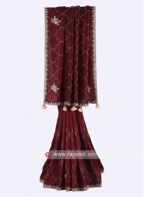 Maroon color pure silk saree