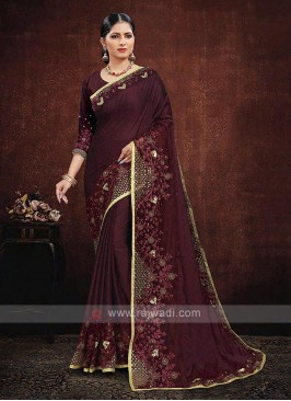 Maroon Color Satin Georgette Saree