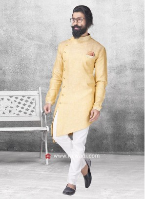 Pineapple Yellow Color Linen Pathani Suit