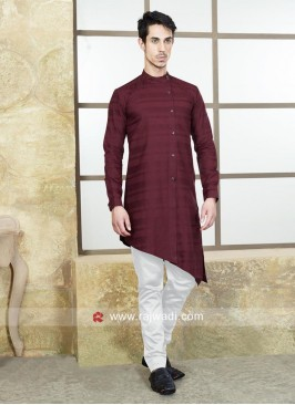 Maroon Color Satin Silk Pathani Suit