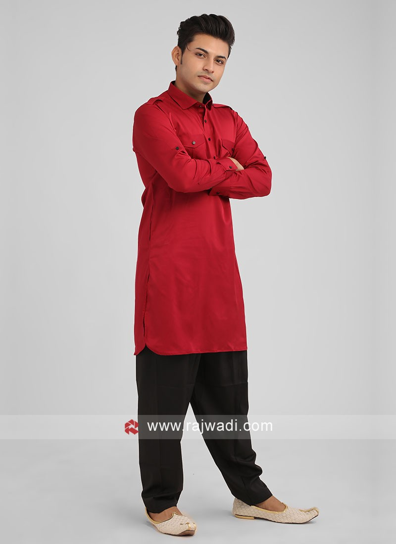 Maroon Color Satin Silk Pathani Suit For Men